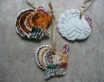 Thanksgiving Turkey Ceramic Ornaments - Set of 3 Handmade