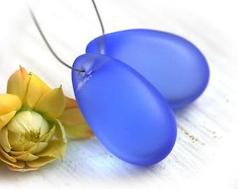 Matte Blue Teardrops, czech glass, Cornflower blue large Briolettes, beads pair - 15x24mm - 2Pc - 2259