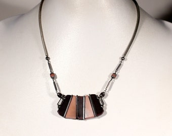 Vintage Art Deco Bakelite Necklace Silver Plate Chain 1930s French  modernist Jewelry