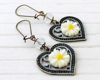 White Daisy Earrings .. white patina earrings, heart earrings, summer earrings, boho earrings, festival jewellery, dangle earrings