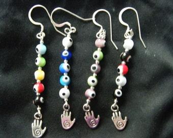 Evil Eye Earrings! Evil Eye Beads, Hamsa Charms, Long Dangle Earrings! Ward Off Evil, Protection, Spiritual, Birthday Gifts, Holiday Gifts