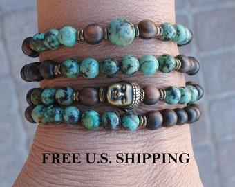 108 Mala, African Turquoise, Buddha Mala, wrap Bracelet or Necklace, Buddhist Rosary, Om Yoga, Yoga wrap,  prayer beads, Reiki Charged