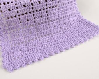 Crochet Lilac Doll Blanket with Scallop Border 18x14 Inch Light Purple Bedspread