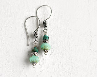 Green Bohemian Earrings with Chrysocolla and Bali Silver  - Natural Gemstone Jewelry