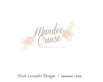 Custom Logo Design Premade Logo and Watermark for Photographers and Small Businesses Hand Drawn Floral & Handwritten Text Shabby Chic Pink