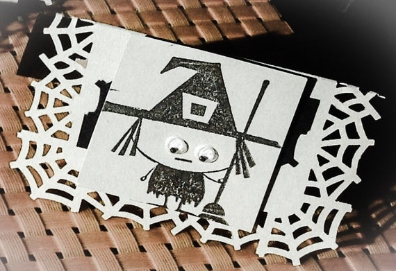 Petite Mini Halloween card table place cards dinner party favors cute witch wiggly eyes batty 3 dimensional