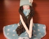 New '''' Ashley , soft doll, handmade  rag doll, clothdoll wearing  beret ,scarf ,socks and skirt , stuffed doll fabric doll,  ready to ship