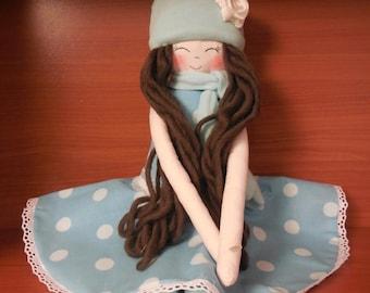 New '''' Ashley , soft doll, handmade  rag doll, clothdoll wearing  beret ,scarf ,socks and skirt , stuffed doll fabric doll,  ready to ship
