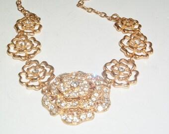 Vintage Three Tiered Statement Rhinestone Flower Floral Pendant Costume Jewelry Statement Necklace