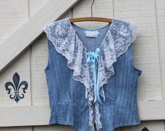 Vintage vest, M Boho Vest, rustic vest, Mori girl style, white lace vest, lace denim vest, cowgirl vest, upcycled denim blouse, M,