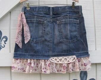 Denim mini, cowgirl skirt, denim mini skirt S, denim  rustic skirt, Boho skirt, Summer denim mini, size 6, upcycled clothing