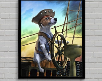 Capt. Jack Russel -- canine pirate painting