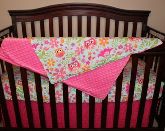 NEW Chevron and Dot Owls Crib Bedding Ensemble