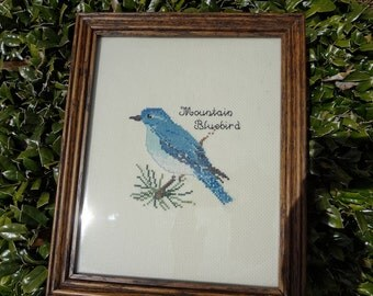 Beautiful Mountain Bluebird Cross Stitched and Framed in Attractive Oak Frame