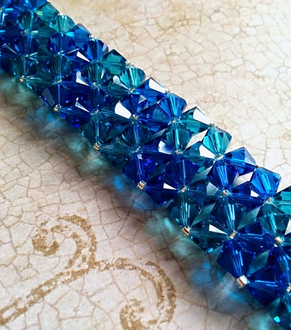 The Erica- Ocean Capri Blue and Indicolite Swarovski Crystal Right Angle Weave Bangle Cuff Bracelet