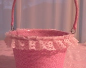 Pink round flower girl basket with lace