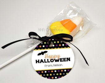 Personalized Happy Halloween Bat Tag - DIY Printable Digital File
