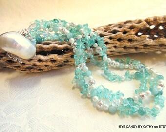 Jade necklace, aqua necklace, pearl necklace, crystal necklace, three strand necklace
