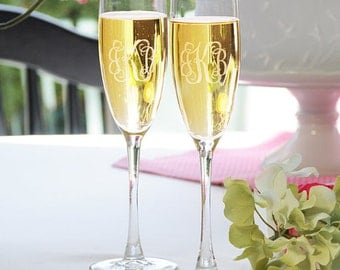 Personalized Vine Monogram Toasting Flutes Set of 2 Wedding Anniversary Special Occasion Engraved Champagne Wine