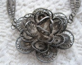 Wonderful Intricate Silver Filigree Flower Necklace