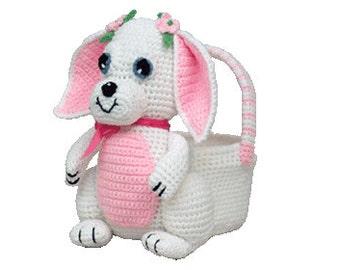 PDF Crochet Bunny Easter Basket Pattern - (7341) Td creations