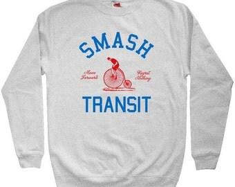 Smash Transit Cycling Sweatshirt - Men S M L XL 2x 3x - Crewneck Bicycle Shirt - 4 Colors
