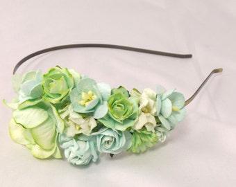 Seafoam, Green and Mint Floral Headband Flower Fascinator Vintage Wedding Party Bridal Accessory Bridesmaid statement