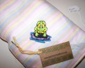 Soft Pink Stripe Fleece Baby Blanket with Embroidered Frog