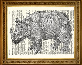 """DURER'S RHINOCEROS PRINT: Antique Dictionary Art on Book Page, Vintage Woodcut Wall Hanging (8 x 10"""")"""
