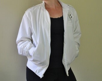 80's Member's Only Style Jacket - White Windbreaker Jacket - Peter England - Great Condition - Size Large - Price Reduced
