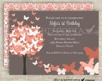 BUTTERFLY BIRTHDAY PARTY Invitations Coral Butterfly Fall Autumn Fairy Tale Butterfly Digital diy Printable Personalized - 175703806