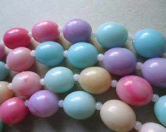 1960's Necklace Never Worn Easter Egg Jelly Beans LONG Plastic pastel Original Hong Kong spring summer costume jewelry garden party