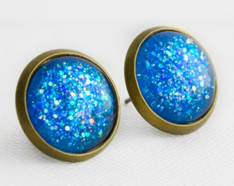 Blue Lagoon Post Earrings in Antique Bronze - Blue Multicolor Glitter Studs