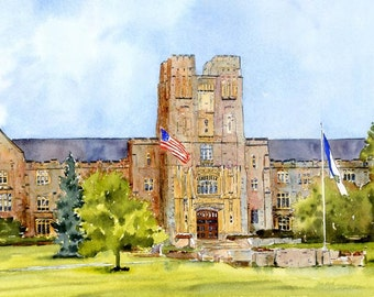 "Burress Hall Print, Virginia Tech.  11x14"" Mat Size, backing and clear bag.  Signed by Artist"