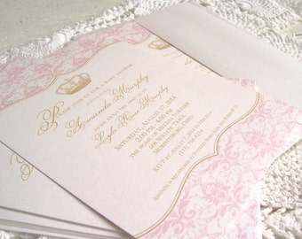 Royal Princess Baby Girl Shower Invitations, Pink and Gold Damask with Crown - Luxe Shimmer Pearl Printed Baby Shower Invitation
