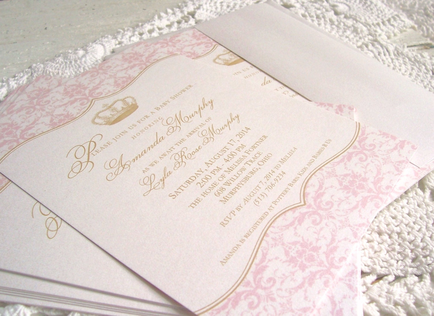 royal princess baby girl shower invitation by oldwaysfussnfeathers, Baby shower