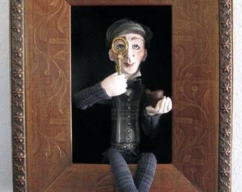 Sherlock Holmes  figure/doll in shadowbox