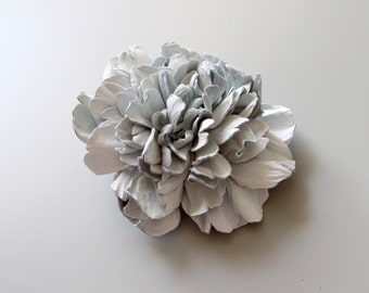 White Leather Peony Hair Clip