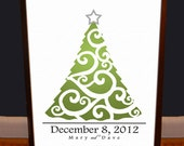 Christmas Wedding Signature Tree - Personalized  - Archival Quality Print