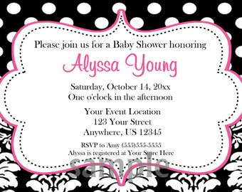 Pink Polka Dots Black Damask Baby Bridal Shower Invitation - YOU PRINT