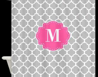 Pink Gray Quatrefoil Trellis Monogram Fabric Shower Curtain