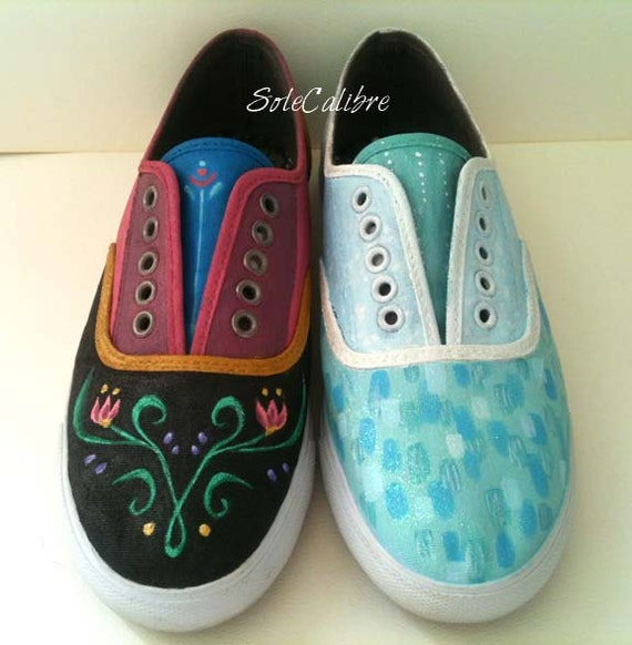 Elsa and Anna - Frozen Inspired Painted Shoes - Adult Sizes