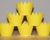 24 Cupcake Wrappers - Yellow Sun (Cardstock, Sunny, Good Morning Sunshine, Bright, Summer, Spring, Baby Shower, Gender Neutral, Girl, Rain)
