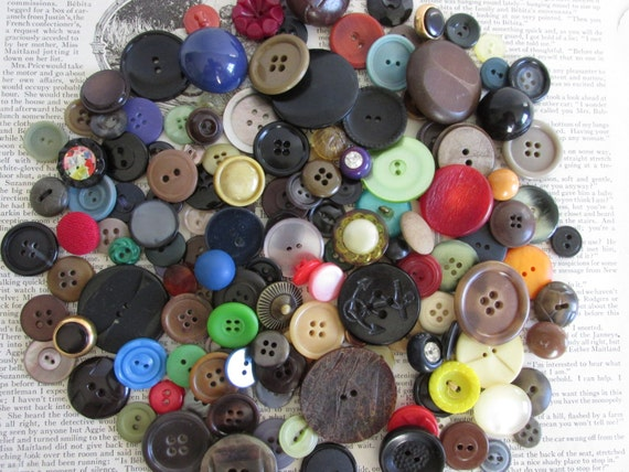 150 Vintage Buttons BULK lot, DIY weddings, jewelry Supply lot, Scrapbooking, sewing Supplies, NO thread button lot, tag supply, embellish
