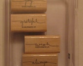 Small Scripts Stampin' Up set of 4 wood mounted rubber stamps
