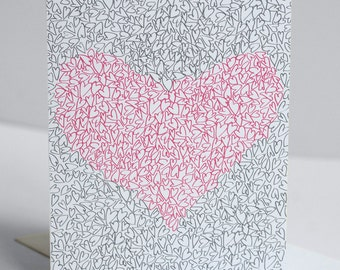 Love Card - Single Card - Illustrated Hearts