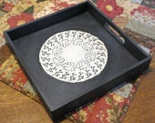 Rustic Wood Serving Tray with Doily