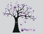 wall decals - Tree decal - Vinyl tree - Owl tree decal - Nursery tree - 5 Free owls
