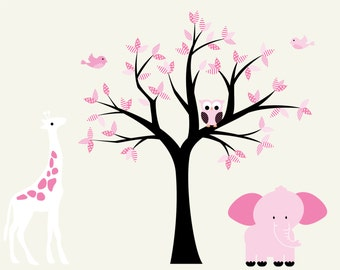 Nursery wall decals - vinyl wall decal - wall decals - tree decal - giraffe and elephant - owl tree decal