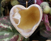 Handmade Ceramic Pendant - Caramel Heart Amber Crystal Crystalline Glaze - Porcelain Iridescent Necklace OOAK Clay Jewelry